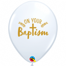"Baptism Balloons - 11"" On Your Baptism Cross (25pcs White)"